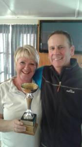A very happy Di Strong and Stu Dixon after their impressive win in the Ruth and Len Cornwall Trophy