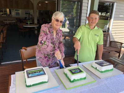 Our life member Norma Westrupp and our youngest competing member Jake Mellors cutting the centennial cake!