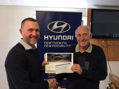 Match Chair Rex Edwards is very pleased to accept the cheque from the Manager of Bowater Hyundai/Isuzu, Peter Cantrick,